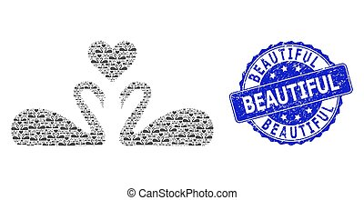 Rubber Beautiful Round Seal Stamp and Fractal Love Swans Icon Collage
