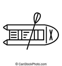 Rubber boat icon, outline style