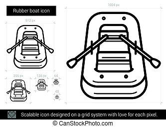 Rubber boat line icon. - Rubber boat line icon for...