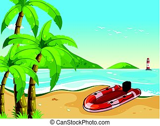 Rubber boat on the beach