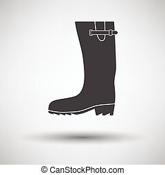 Rubber boot icon on gray background with round shadow....