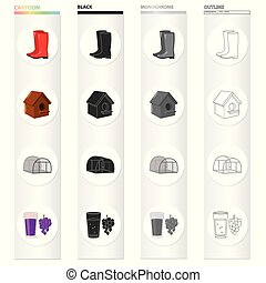 Rubber boots, a wooden birdhouse, nesting box, a greenhouse on a farm, a glass of juice and a bunch of grapes. Farm set collection icons in cartoon black monochrome outline style vector symbol stock illustration web.