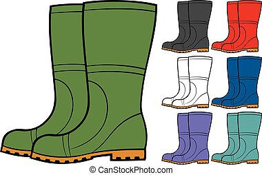 rubber boots collection vector illustration