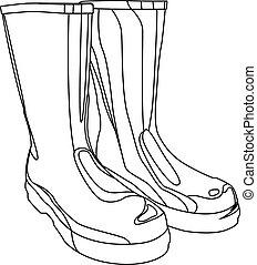 rubber boots contour vector illustration