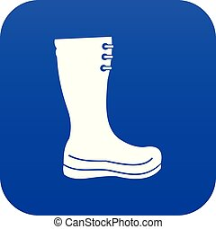 Rubber boots icon digital blue