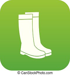 Rubber boots icon digital green
