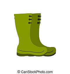 Rubber boots icon, flat style