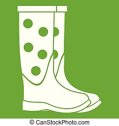 Rubber boots icon green
