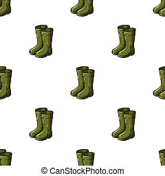 Rubber boots icon in cartoon style isolated on white background. Fishing symbol stock vector illustration.