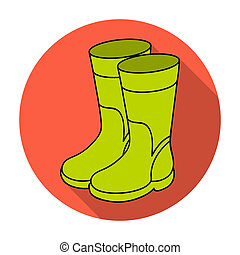 Rubber boots icon in flat style isolated on white background. Fishing symbol stock rastr illustration.