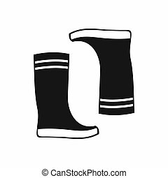 Rubber boots icon, simple style