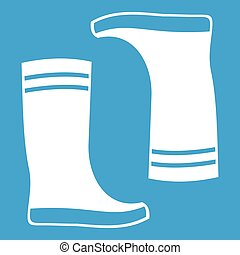 Rubber boots icon white