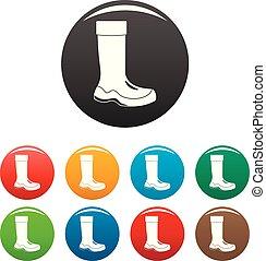 Rubber boots icons set color