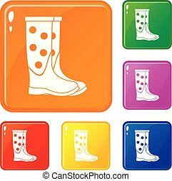 Rubber boots icons set vector color