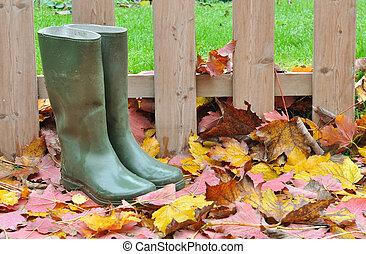 rubber boots on leaves