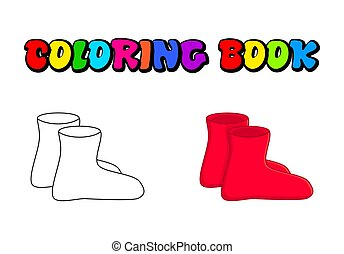 rubber boots outline, cartoon simple gumboots isolated on white background