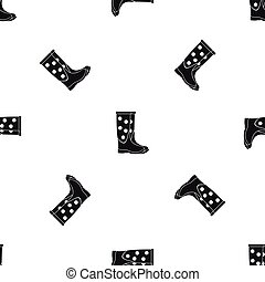 Rubber boots pattern seamless black