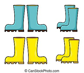 Rubber boots set vector clip art. Wellington boot cartoon illustration isolated on white background.