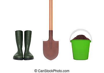 Rubber boots, shovel and plastic bucket with soil isolated on white background