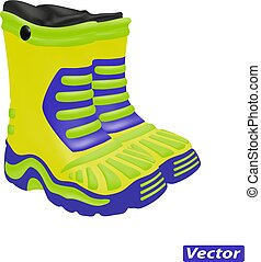 rubber boots vector isolated on white background
