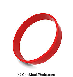 Rubber bracelet. 3d illustration isolated on white...