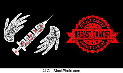 Glare mesh network vaccine care hands with lightspots, and Breast Cancer textured ribbon stamp seal. Red stamp seal includes Breast Cancer title inside ribbon.