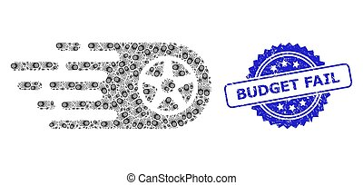 Rubber Budget Fail Seal and Fractal Tire Wheel Icon Composition