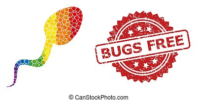 Rubber Bugs Free Stamp and Bright Colored Sperm Cell Mosaic
