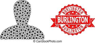 Vector collage spawn persona of SARS virus, and Burlington dirty ribbon stamp seal. Virus items inside spawn persona mosaic. Red stamp seal has Burlington tag inside ribbon.