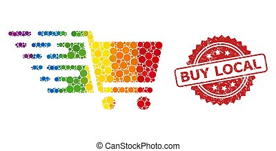 Rubber Buy Local Stamp and Bright Colored Supermarket Cart Mosaic