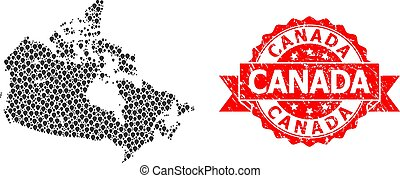 Rubber Canada Stamp Seal and Pointer Mosaic Map of Canada - ...