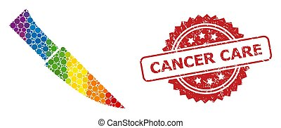Rubber Cancer Care Stamp and LGBT Knife Mosaic