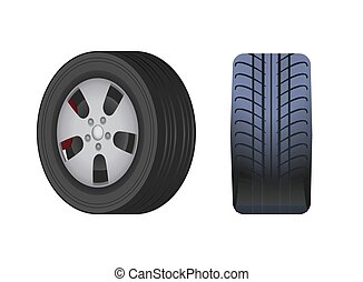 Rubber Car Wheel, Black tyre Vector Isolated Icon