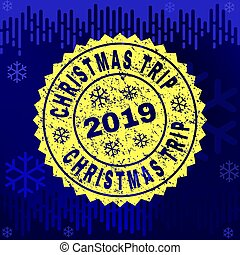 Rubber CHRISTMAS TRIP Stamp Seal on Winter Background