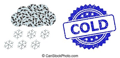 Rubber Cold Watermark and Fractal Snow Cloud Icon ...