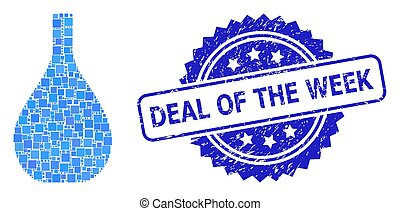 Rubber Deal of the Week Stamp and Square Dot Mosaic Glass Jug