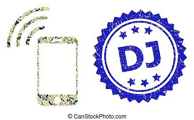 Military camouflage collage of cellphone signal, and Dj textured rosette seal print. Blue stamp seal contains Dj text inside rosette. Mosaic cellphone signal designed with camouflage spots.