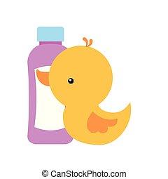 rubber duck and shampoo bottle bathroom