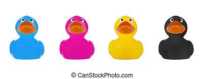 Rubber Duck CMYK concept - Rubber Duck, CMYK concept, on...