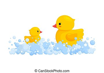 Rubber duck family in soap foam isolated in white background. Side view of yellow plastic duck toys in suds, parent and baby. Vector illustration