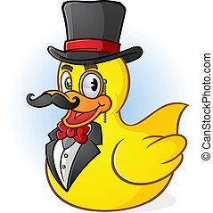 Rubber Duck Gentleman Cartoon - a rich gentleman rubber duck...