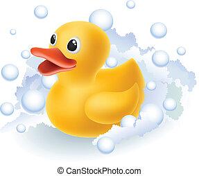 Rubber duck in foam and bubbles