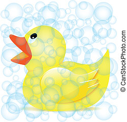 rubber duck in soap bubbles