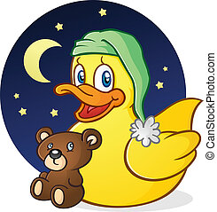 A cute yellow rubber ducky cartoon character getting ready for bed time with his night cap and teddy bear