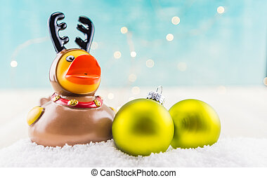 Rubber Duck Reindeer Low Angle with Two Green Ornaments