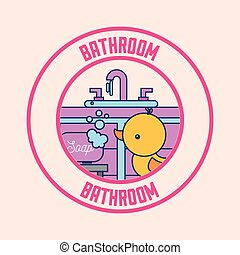 rubber duck soap and washbasin clean badge bathroom