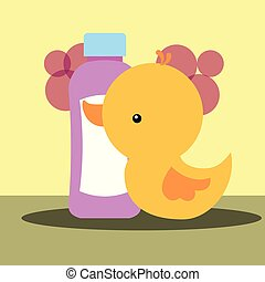 rubber duck toy and bottle shampoo bathroom