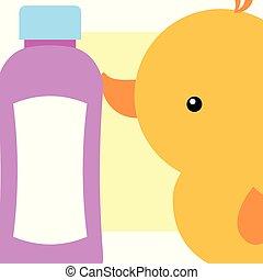 rubber duck toy bottle shampoo bathroom