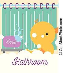 rubber duck toy soap foam curtain bathroom