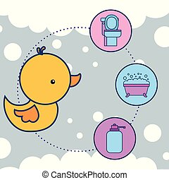 rubber duck toy toilet bathtub and liquid soap